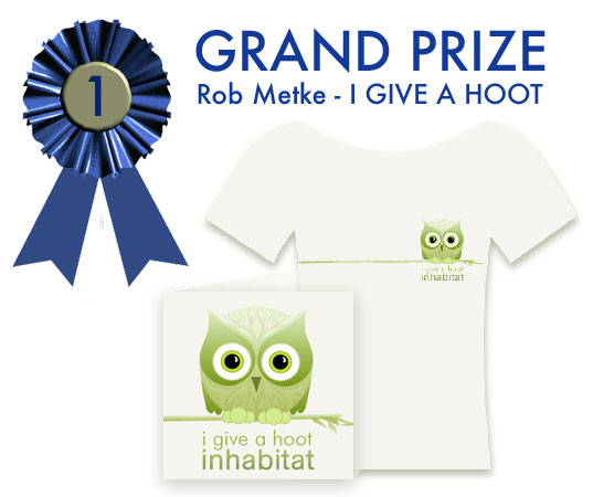Rob Metke, San Diego, I Give A Hoot, Inhabitat T-shirt design contest, First prize, grand prize, Inhabitat T shirt design competition, Habby the Inhabitat Owl