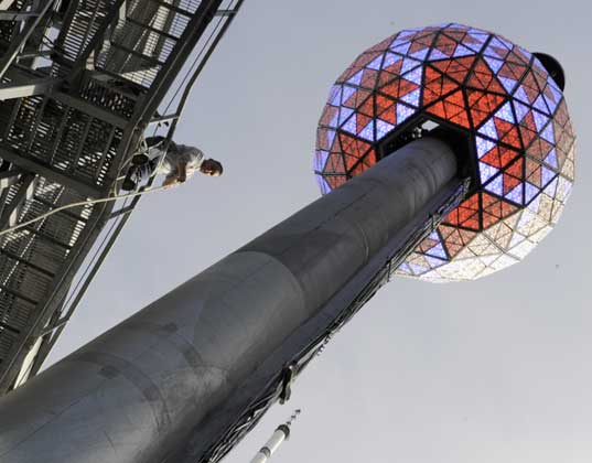 The New Year's Eve ball will be lit in a rainbow of LED color, eco friendly new years, new years eve, new years 2010, new years eve 2009, energy efficient new years, ball drop, times square, new york city