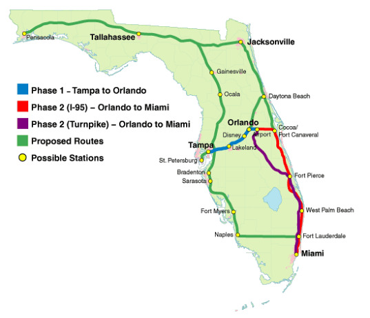 high speed rail, high-speed rail, bullet train, florida, stimulus funding