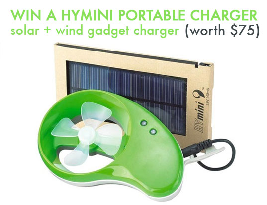 hymini, miniwiz, solar charger, portable charger, wind power, wind energy, green gadgets, greener gadgets
