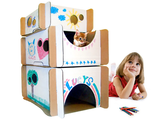 Caboodle, Cardboard furniture, cats, DIY furniture, eco-friendly cat condo