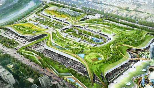 Garak Wholesale Market, sustainable design, green design, green roof, water, urban design, south korea, samoo architects and engineers, green building