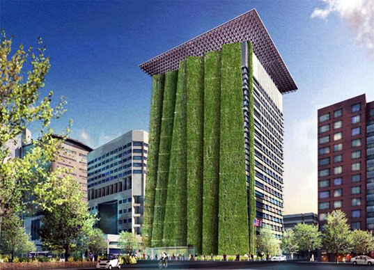 vertical garden, wyatt federal building, energy efficiency, portland, oregon, sustainable design, green design, architecture, gardening