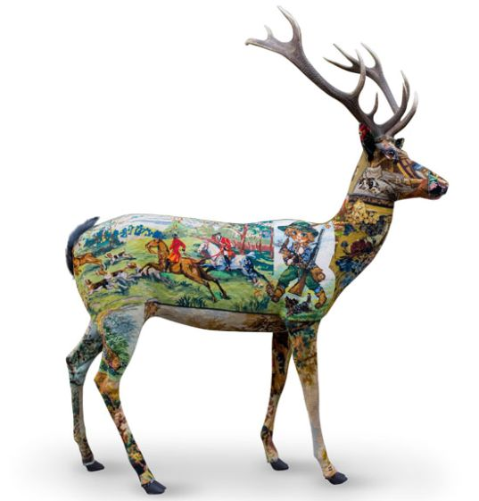 Art, deer, eco-art, embroidery, Frederique Morrel, needlework, passe-murailles, reuse, upcycle, visitors, decorative objects, home decor
