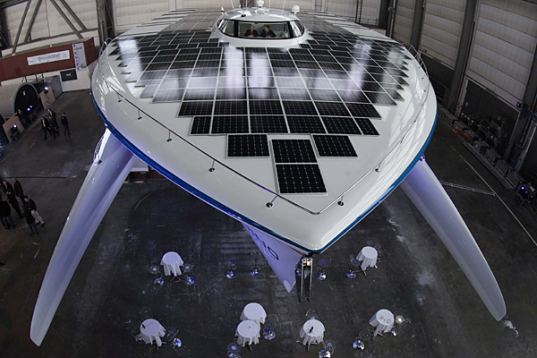 solar powered boat, world's largest solar powered boat, SolarPlanet, catamaran, solar powered catamaran, solar power, solar panels, zero emissions,