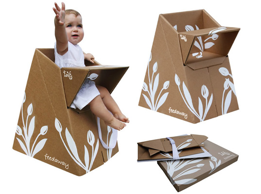 belkiz feedaway, flat-packed, recycled cardboard, inhabitots, recycle, high chair