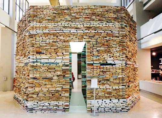 sustainable design, green design, green architecture, recycled materials, eco art, Book Cell, de Matej Krén