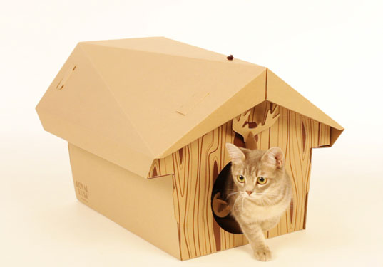 cat cabin, eco cats, 100% recycled cardboard, recycled cardboard cat house, green cat house, sustainable cat house, flatpack furniture, flatpack cat house, Loyal Luxe Cat Chalet