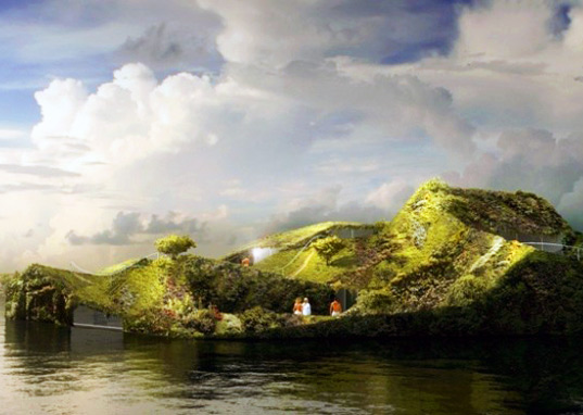 sustainable design, green design, island spa, anne holtrop, floating architecture, green walls, garden, botanical, green building