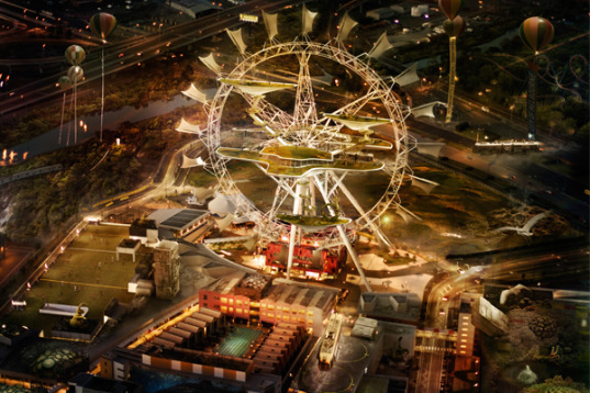 Buro North, Peter Bennetts, Squint Opera, Futuristic wheel, Southern Star Observation Wheel, Flying trams, adaptive re-use, solar-sail power, solar power, wind power, green energy, melbourne