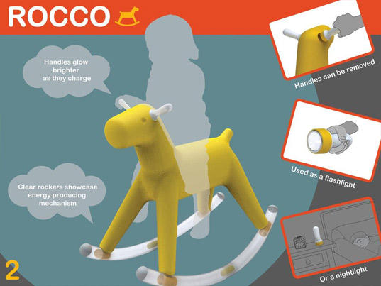 Rocco Kinetic Energy Harvesting Rocking Horse, rocking horse, green design, sustainable design, eco design, kinetic energy, greener gadgets, green toys