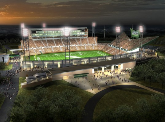 sustainable design, green design, leed certified stadium, green building, first leed college football stadium, university of north texas