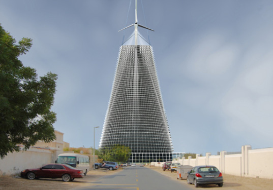 eco skyscraper, robert ferry, studied impact, 10 MW tower, renewable energy, solar power, solar concentrating, wind power, solar updraft, dubai, solar updraft tower, skyscraper, eco design, green design, sustainable building