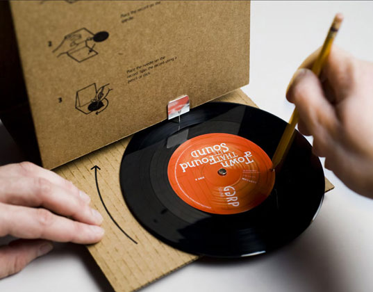 GGRP, sound designers, cardboard, record player, 45 rpm, record, music, DIY, recycleable, dj