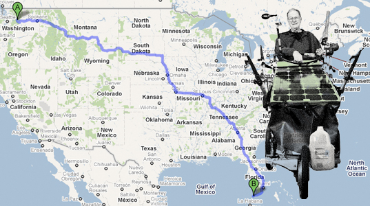 bruce maynard,  journey across america in a solar powered stroller,  solar powered baby stroller,  solar powered stroller,  solar stroller,  stroller tent,  walk across america