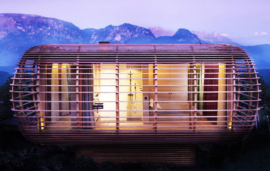 sustainable tourism, eco tourism, green design, eco design, sustainable building, italy, studio aisslinger, FINCUBE, natural ventilation, daylighting, shade screen, local materials, small footprint