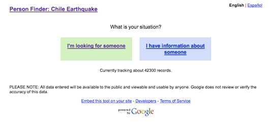 google, chile, person finder, earthquake, sustainable design, green design, humanitarian design, earthquake aid