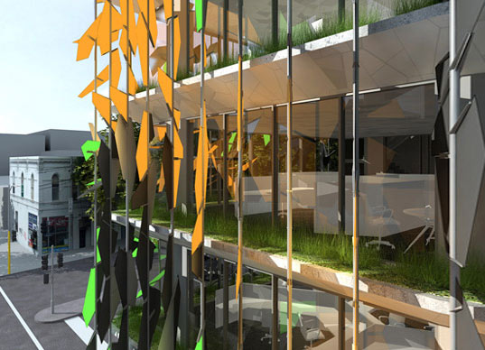 pixel building, studio 505, grocon, carbon neutral, first carbon neutral building in australia, carbon neutral office building, solar power, green building, wind turbine, sustainable building, eco design, green design, sustainable design