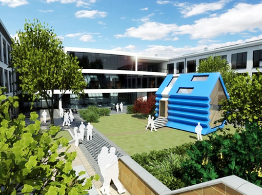 green design, eco design, rotated, rotated school house, bsec school construction, blue forest, 3dreid, rotating building, building that can roll over, eco schoolhouse, modular schoolhouse
