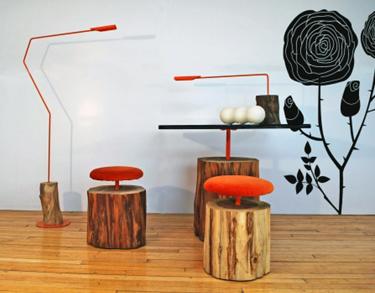 sustainable design, green design, ilan dei studio, Urban Log Collection, industrial tree furniture, logs made into furniture, urban renewal tree furniture, orange log furniture, tree trunk chair, tree trunk table, tree trunk light fixture