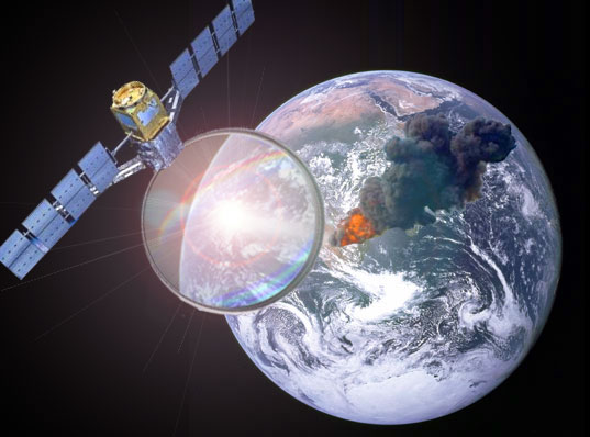 nasa, operation lens, solar power, giant magnifying glass, astronauts, solar power, outer space, frank gehry, april fools