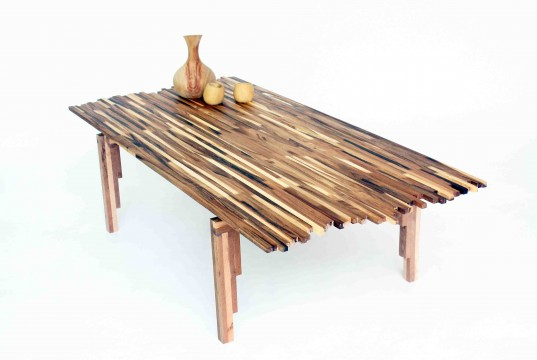 acacia wood, green design, eco design sustainable design, green furniture, green table, recycled materials, wildfire table, new makers, wood table