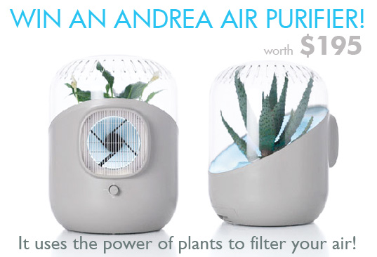 andrea air filter, david edward, eco baby, green baby, HEPA Filter, indoor air filter, mathieu lehanneur, plant air filters, plants as air filters, plants clean indoor air, giveaway, free stuff