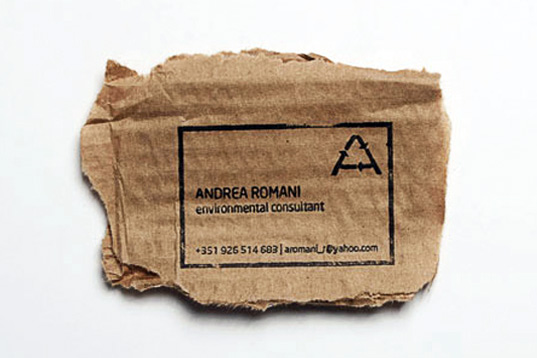 economical business card design, ecological business card, recycle scrap paper, green marketing, green design, Andrea Romani, minimalist design, industrial graphic, stamp, self-inking stamp, affordable design, sustainable contact card