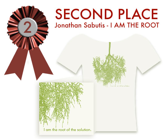 Jonathan Sabutis, Savannah, GA, I Am The Root of the Solution, Inhabitat T-shirt design contest, Second Place, Second Prize
