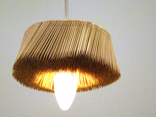 sustainable design, green design, toothpick chandelier, pendant lamp, reclaimed materials, repurposed materials, found design, daisuke hiraiwa