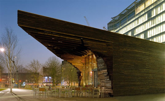 Potters Field Park, London City Hall, DSDHA, Gross Max, 100 Public Spaces, Blossom Square Pavilion, timber-clad Yakisugi London