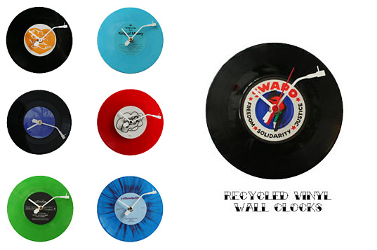 The Grateful Thread, recycled vinyl wall clocks,  recycled albums, vintage album clocks, recycled wall clocks, The Grateful Thread UK, Guitar Softies, Guitar Softies Inhabitots