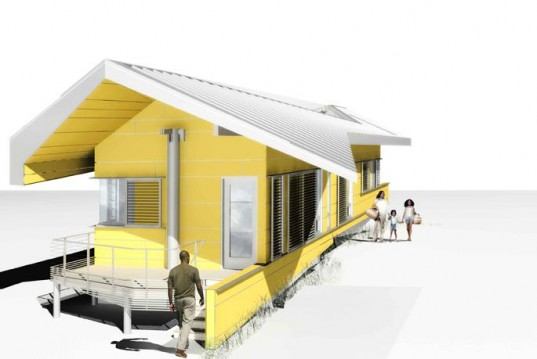 Brad pitt unveils flood surviving float house for make it for How to build a floating house