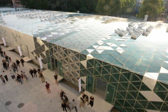 Saint-Etienne, France, Cite du Design, International Design Center, LIN, lattice structure, solar panels, photovoltaic cells, energy efficient design, heat recovery