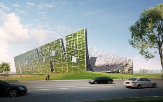 NBBJ, stadium, renewable energy, wind power, solar power, green roof, living walls, innovative stadium design, china, dalian shide