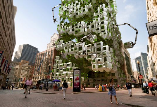 filene development, stalled project, howeler + yoon, boston, boston globe, bio-fuel, bio-fuel producing algae, algae, eco pods, algae eco pods, prefab