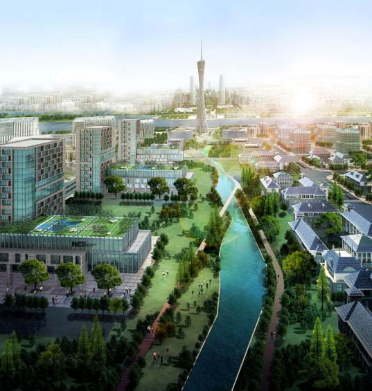 guangzhou, china, master planned city, master plan, sustainable design, transit corridors, mass transit, open space, green space, public space, mixed-use, expansion