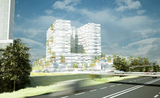 eco towers, hamburg, greeen! architects, eco city, gardens, green roofs, office building, green office building, germany