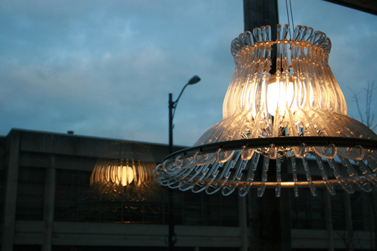 sustainable design, green design, recycled materials, interiors, furniture, chandelier, clothes hanger, organelle design