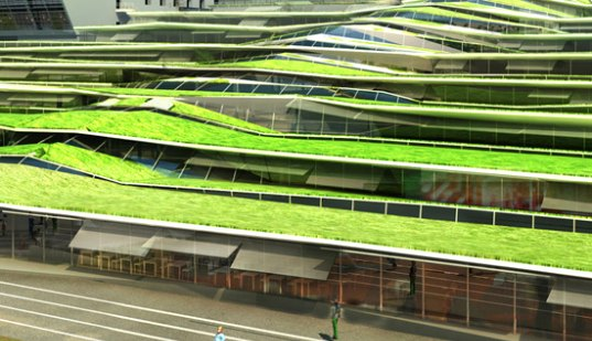 green roof, natural daylight, france, off architecture, high school, green roofed school