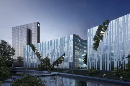 daniel libeskind, ko-bogen, koe-bogen, duesseldorf, dusseldorf, germany, office space, retail, mixed-use development, green roof, pedestrian zone