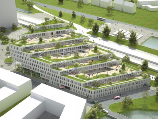 architecture, green roof, living roof, green office, park space, open space, NL Architects, The Netherlands, carbon neutral