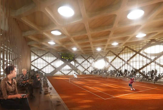 locally sourced materials, local materials, wood, david tajchman, wooden structure, tenniscalator, tennis, tennis center, tennis pavilion, daylighting
