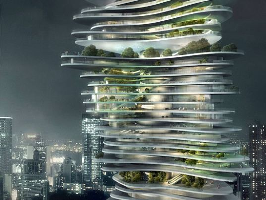 MAD Architects, china, urban forest, urban design, green roof, residential building, nature, inspired by nature, forest, stacked forest