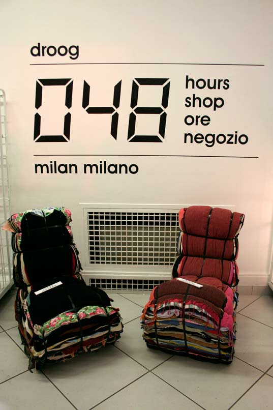 Milan, Salone, Droog, A touch of green, Italy, Furniture Fair, Dutch design, sustainable design, Tejo Remy, Jens Praet, Rag chairs by Tejo Remy for sale at Droog's 48 hour shop