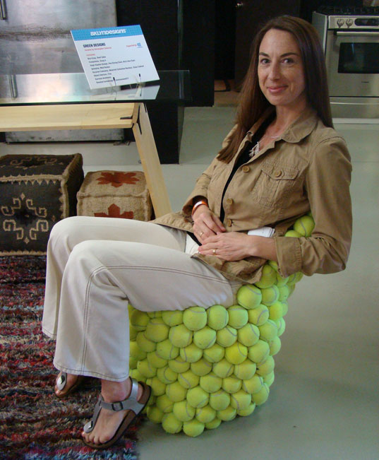 tennis ball chair, bklyn designs, hugh hayden, green design, sustainable design, brooklyn, funature, abigail doan