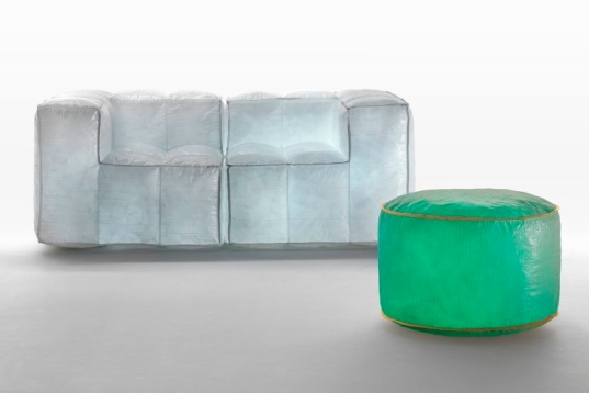 mario bellini, via lattea line, meritalia furniture, contemporary green furniture, eco-friendly furniture, air-filled chairs and couches, sustainable furniture design, recycled furniture