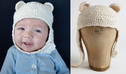 inhabitat green gift guide, etsy gift guide, sustainable design, handcrafted gift guide, sustainable gifts, green holiday gift guide, Amy Mohlenhoff Baby Bear Ear Hat