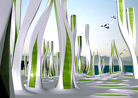 Crazy Futuristic San Francisco, A vision of San Francisco's Future, Iwamoto Scott Architecture, San Francisco in 2108, a Hydro-Net City of the Future, History Channel City of the Future, Hydronet, Hydro Net, Hydro-Net, Iwamoto Scott Hydro-net, City of the Future, Algae Towers, Geothermal Steam Baths, Fog flowers, Fog catchers