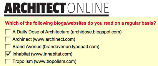 ARCHITECT BLOG POLL: Vote for Inhabitat! Survey about architecture blogs